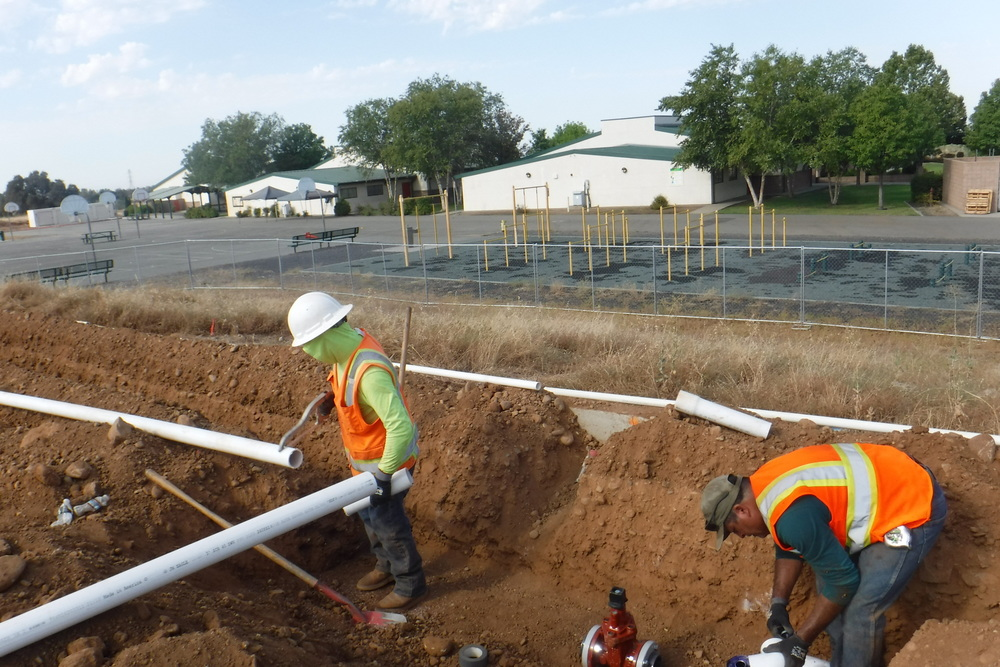 Ishi Fields Irrigation Pipes being Installed