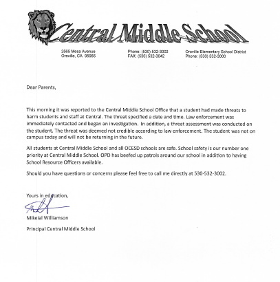 Important Letter to Central Middle School Parents