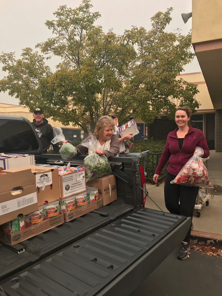 OCESD staff deliver food to evacuation shelter