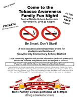​Come to the Tobacco Awareness Family Fun Night! Central Middle School Auditorium, November 6, 2019 @ 4:30pm!