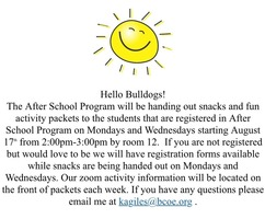 After School Program Information about Pick Ups