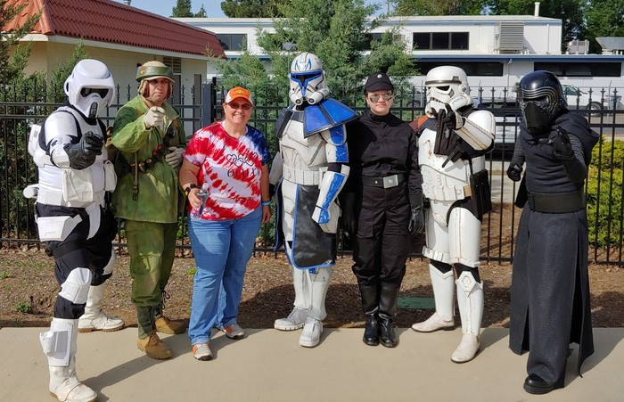 Rhonda Copelin with stormtroopers