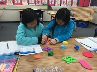 Students working with Fraction Circles