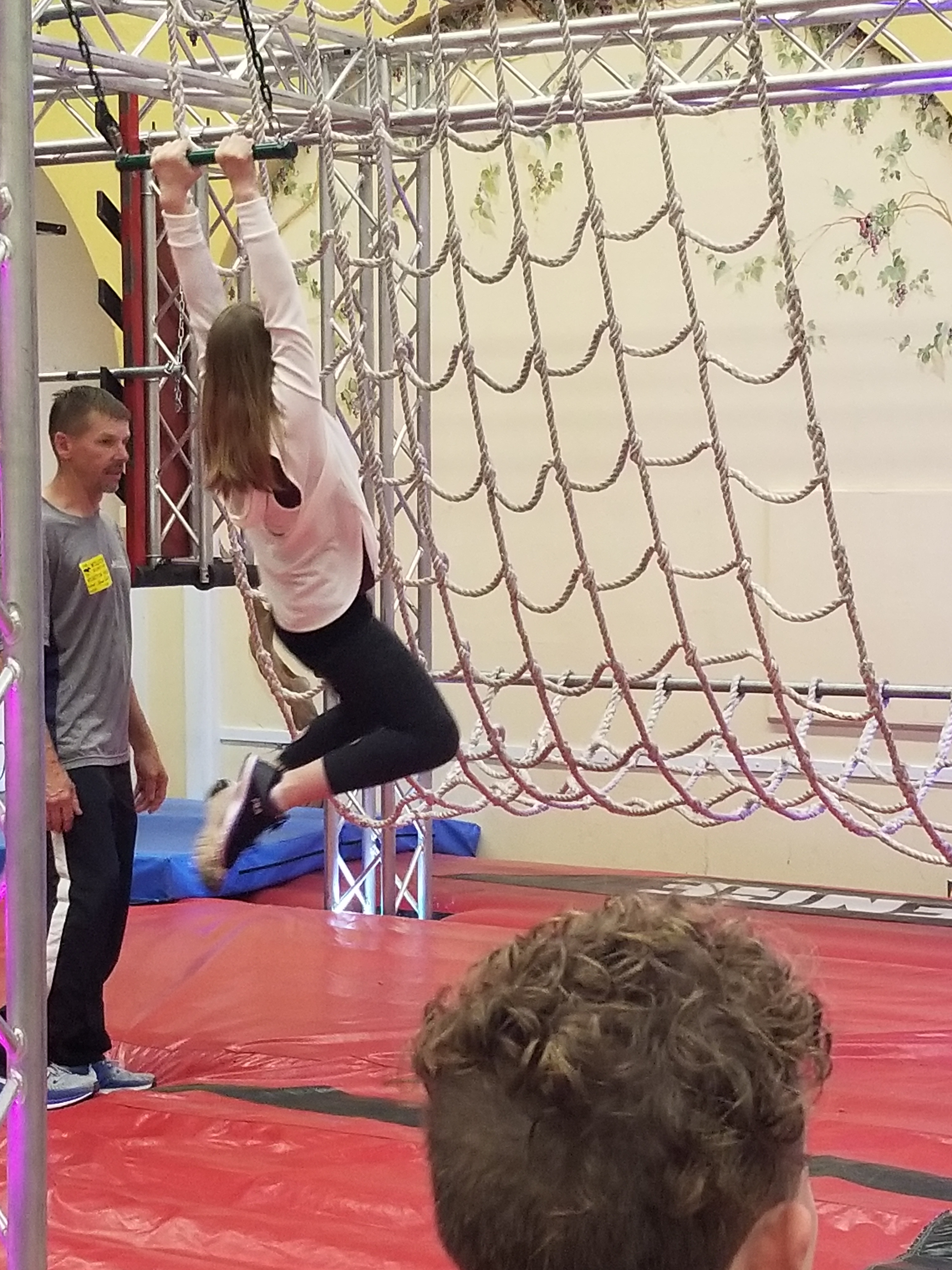 Students participating in the Ninja Warrior Course